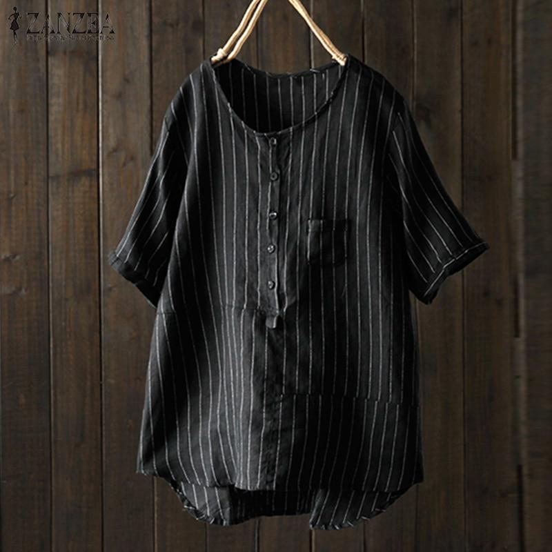 2018 ZANZEA Summer Women Short Sleeve Striped Blouse Vintage Cotton Linen Shirt Party Work Loose Casual Top Blusas Plus Size