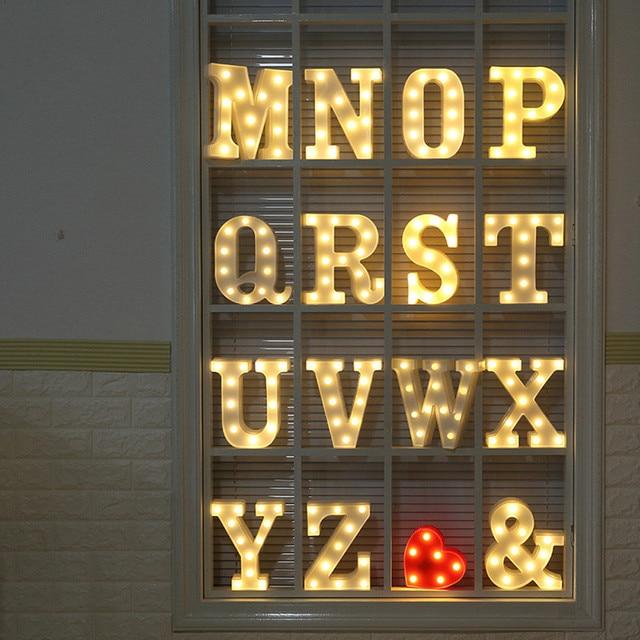 LED Letter light Home Wedding Decor Alphabet LED Romantic Letter Lights Light Up White Plastic Letters Standing Hanging N-Z