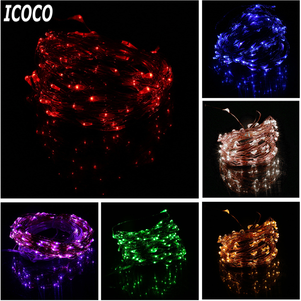 ICOCO High Quality 10M Super Long 100 LEDs Copper Wire Lights 8 Modes Indoor Outdoor Home Decorative Wedding Party String Light