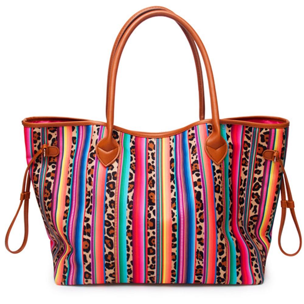 Personalisieren Frauen Leinwand Handtasche Blok Farbe Leopard Gestreiften Schulter Tasche Geräumig Genug Pu Griff Und Boden Lässig Tote Tasche