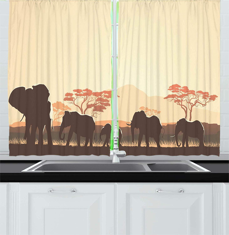 Wildlife Curtains Africa Safari Park Window Drapes 2 Panel Set 108x90 Inches