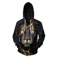 Zipper Hoodies Men 3D Wolf Lion Animal Hoodie Sweatshirts For Boys Long Sleeve Hoody Male Hooded Coat Funny Cardigan Hombre