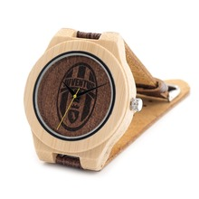 BOBO BIRD Wrist Watch Men 2017 Top Brand Luxury Wood Watch Genuine Leather Strap Clock Quartz Bamboo Watch Relogio Masculino