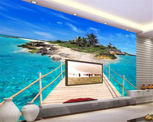 beibehang Customized any size wallpaper wooden bridge island stereo 3D TV high quality backdrop wall wallpaper for walls 3 d 3d wallpaper nature scenery blue sky wooden bridge lake photo wall mural living room tv sofa backdrop wall papers for walls 3 d
