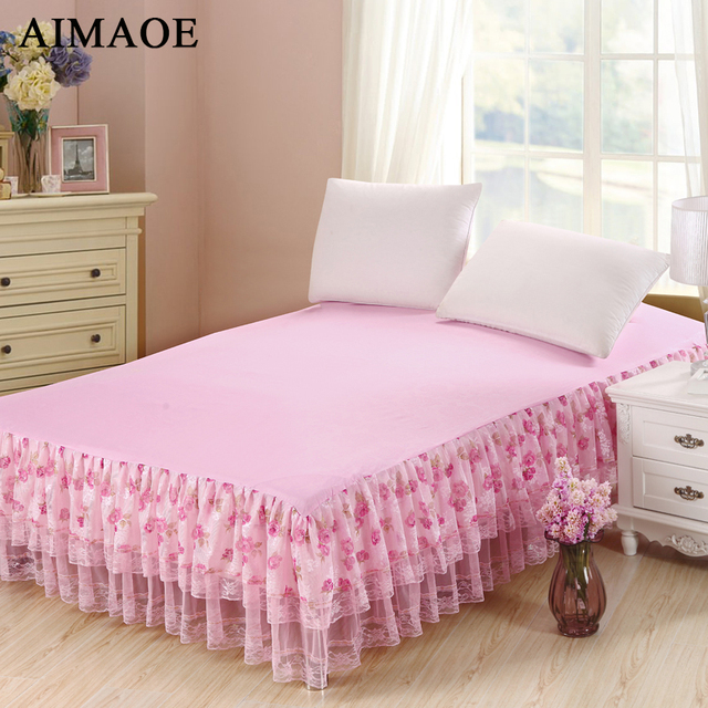 3 Styles Bow Knot/Dot/Rose Lace 100% Polyester Bed Skirt Bedspread