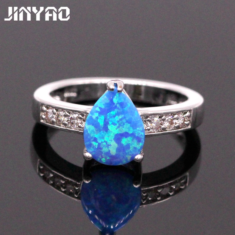 jinyao jewelry charm teardrop fire opal white gold color wedding ring for women engagement party jewelry - Teardrop Wedding Rings