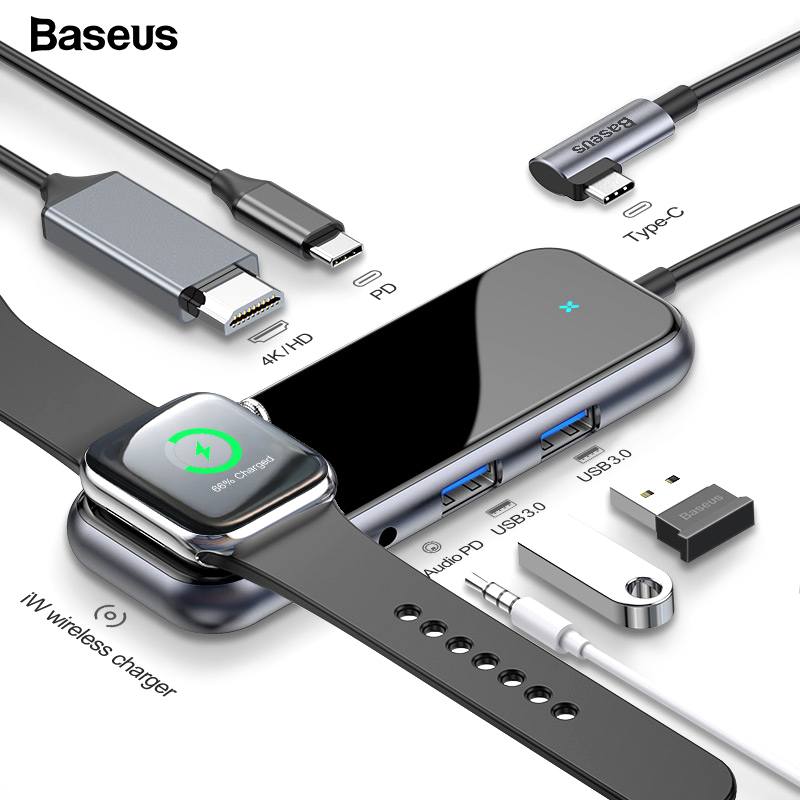 Baseus USB-C Typ C HUB zu HDMI RJ45 Multi USB 3.0 Adapter Für MacBook Pro Air Dock USB C HUB Mit drahtlose Ladegerät Für iWatch