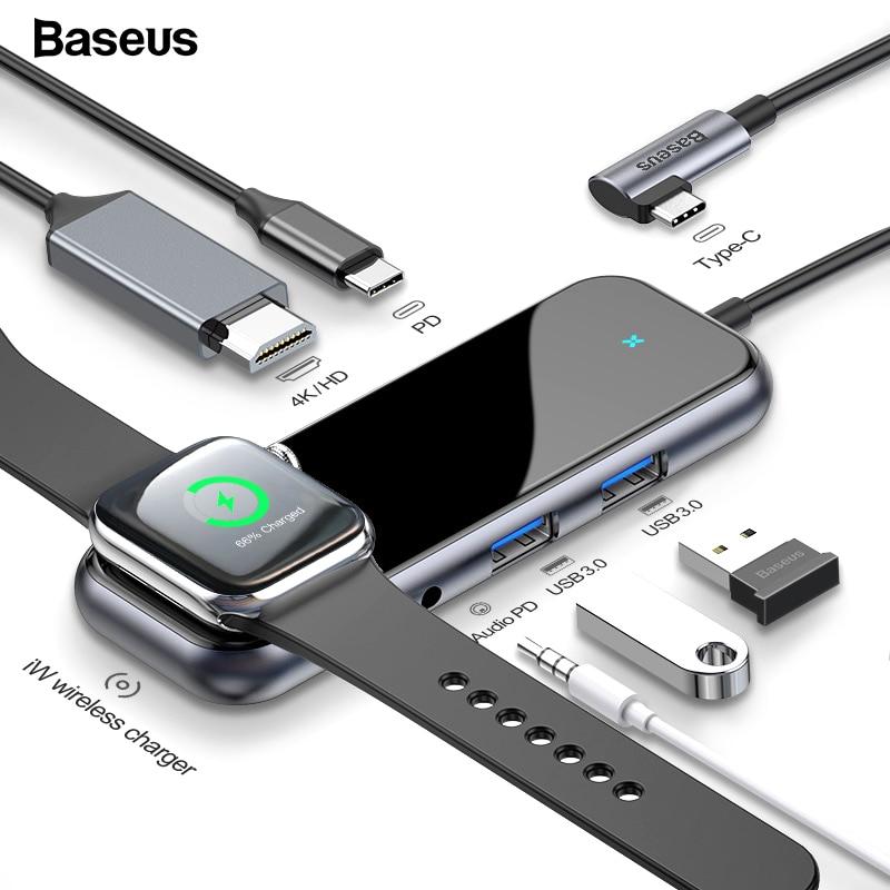 Baseus USB-C Type C HUB vers HDMI RJ45 Multi USB 3.0 adaptateur pour MacBook Pro Air Dock USB C HUB avec chargeur sans fil pour iWatch