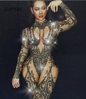 Sexy Black Nude Rhinestone Jumpsuit Sexy Nightclub Bar Wear Stones Bodysuit Leggings Prom Celebrate Outfit Performance