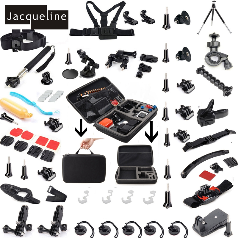 Jacqueline for Kit Accessories Bundle for Gopro HD Hero 5 for Go Pro Hero 4 3+ 3 2 for SJCAM SJ4000 SJ6000 for EKEN H9R for gopro hero 4 accessories flat curved adhesive mount base with vhb for gopro hero 5 4 3 session sjcam sj4000 sj6000 h9 kits