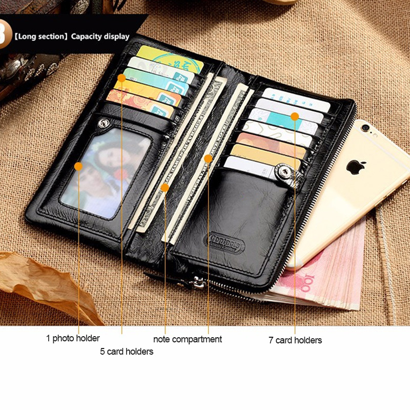 CONTACT'S 2019 New Classical Genuine Leather Wallets Vintage Style Men Wallet Fashion Brand Purse Card Holder Long Clutch Wallet 2