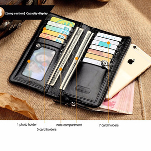 Image 3 - CONTACTS 2020 New Classical Genuine Leather Wallets Vintage Style Men Wallet Fashion Brand Purse Card Holder Long Clutch Wallet