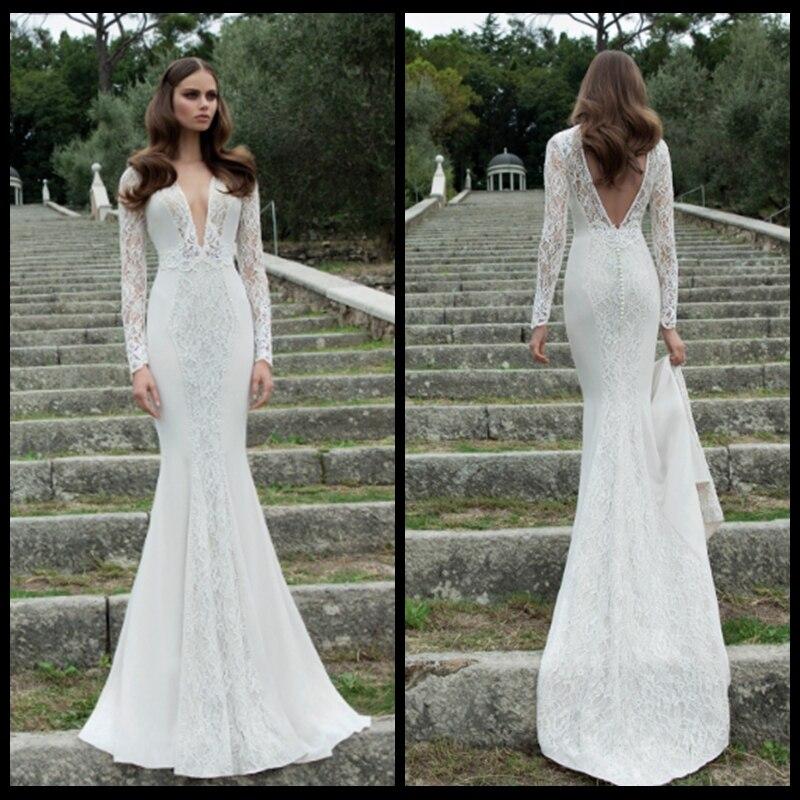 Sheer Lace Long Sleeve Satin Mermaid Wedding Dresses: Latest Long Sleeve Deep V Neck Backless Mermaid Satin
