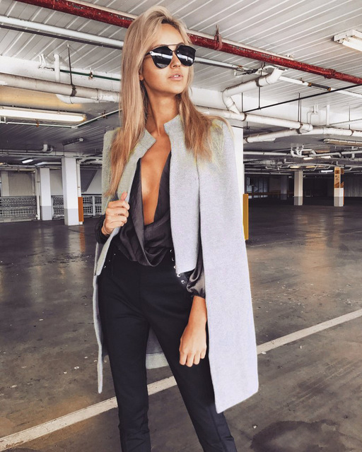 34e080b6a7a 2018 Women Casual Open Front Blazer Suits Fake Two Piece Cape Trench Coat  Duster Coat Longline