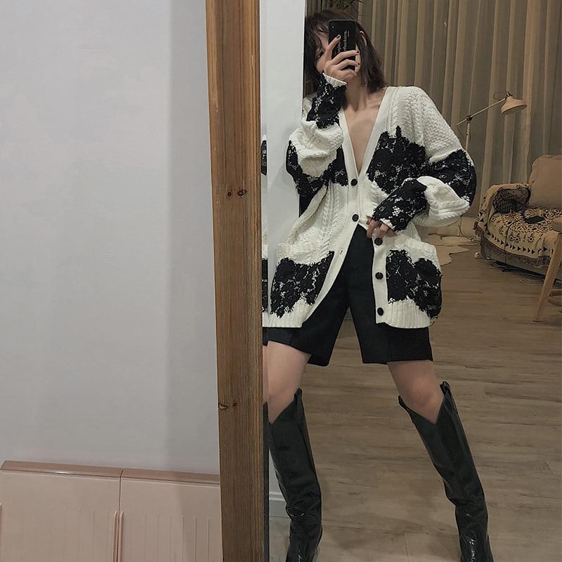 Picture Poitrine Chandail Tricoté Casual Corée Complet Lyh1524 Automne De Mode Unique xitao2018 Patchwork See V Cardigans Col Manches uOkiTPZX