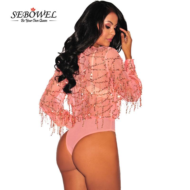 Pink-Flowing-Sequins-Long-Sleeves-Bodysuit-LC32082-10-2