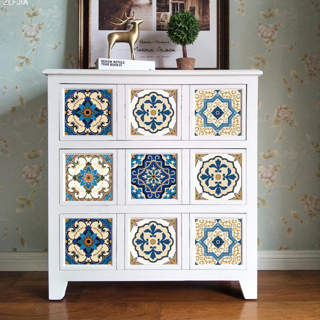 10pcs Set Moroccan Style Ceramic Tile Wall Sticker Art Decor Living