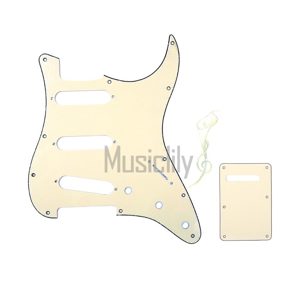 Musiclily Multiple Color 3Ply SSS ST Guitar Pickguard & Back Plate For FenderStrat US/Mexico Standard Modern Style musiclily 3 single coil pickup loaded pre wired sss pickguard set for fenderstrat st guitar parts