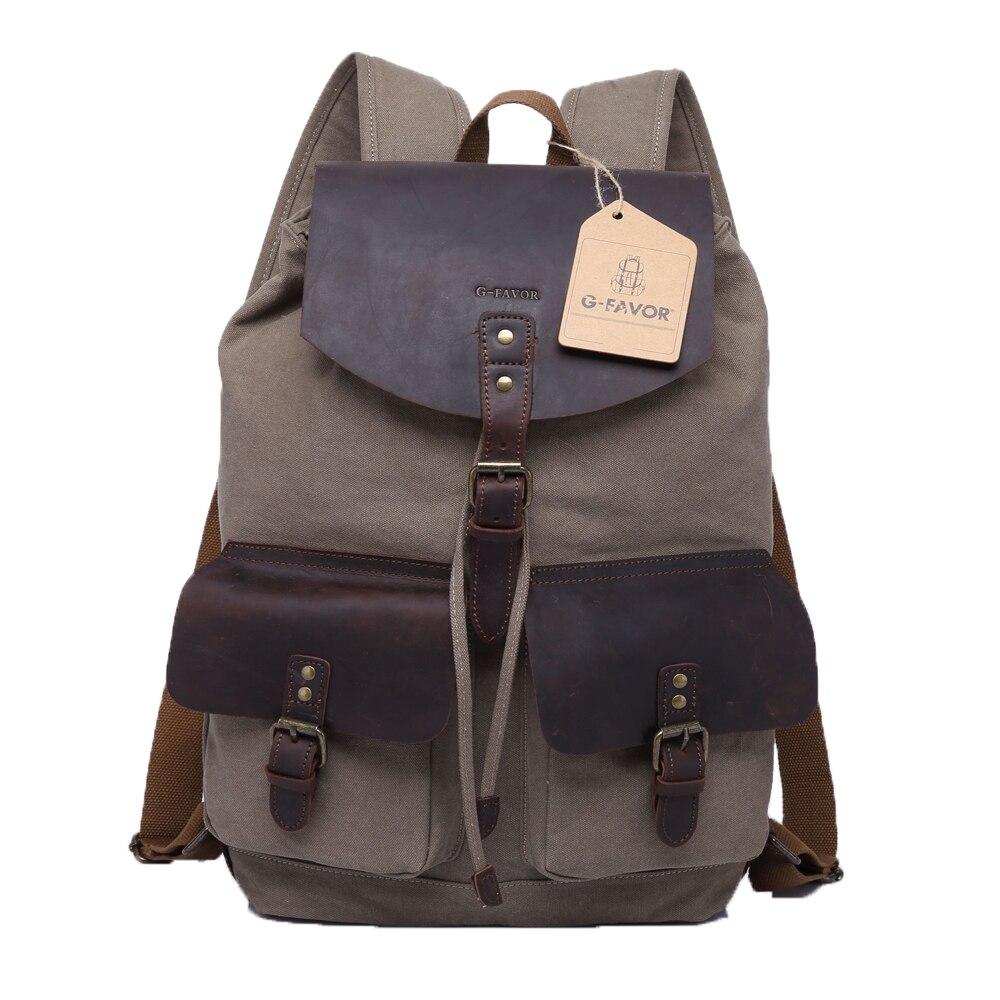 Homme toile sac rétro étudiant cartable grande capacité sac à dos kaki/militaire vert/riz blanc sac à dos mode ordinateur sac à dos