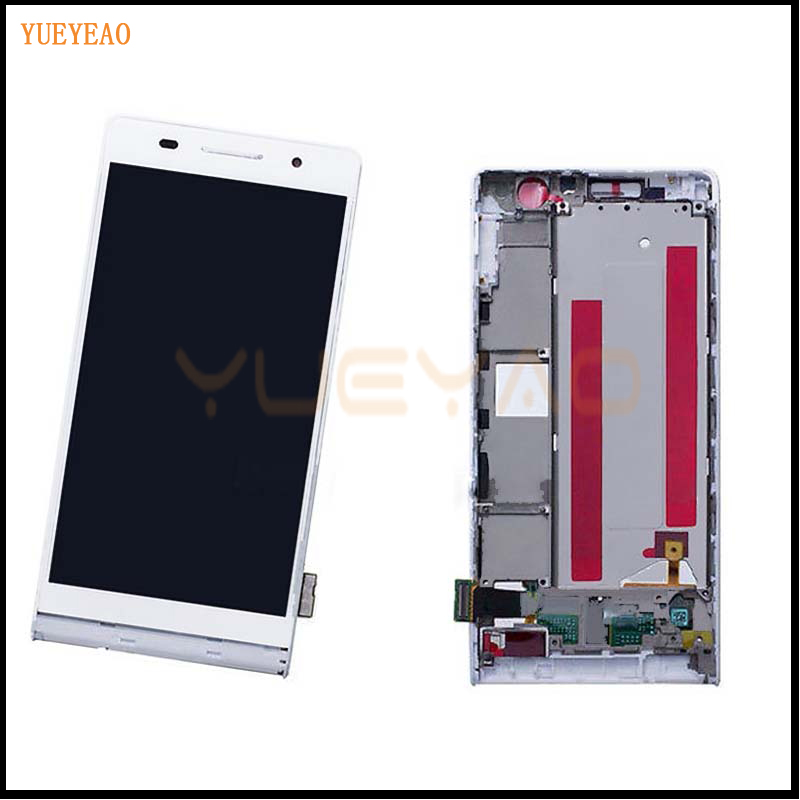 100% Original For Huawei Ascend P6 White Full LCD Display Panel Screen Monitor + Touch Screen Digitizer Glass Sensor Lens Assemb replacement original touch screen lcd display assembly framefor huawei ascend p7 freeshipping
