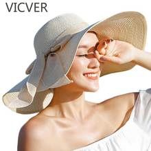 Summer Women Hat With Large Brim Straw Hats Bowknot Floppy Foldable Sun Cap Fashion UV Sunscreen Beach Caps Female Casual Hats solid color wide brim sun straw hats women bowknot beach cap summer ladies anti uv sunscreen floppy hat casual travel fold caps