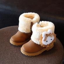 KKABBYII Children's Winter Boot New Fashion Girl PU Snow Brand Cartoon Sneakers Kids Waterproof Rubber Shoes Botas Infantis