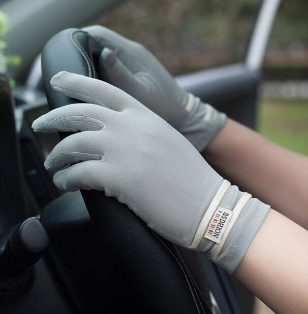 Spring Summer Men's Full Finger Sunscreen Gloves Male Anti-uv Slip-resistant Striped Touch Screen Driving Gloves 1073