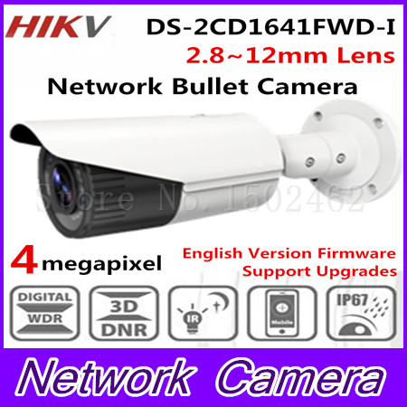 Hikvision Original English Version CCTV Camera DS-2CD1641FWD-I 4MP Vari-Focal Bullet outdoor IP Camera 2.8-12mm lens POE IP67 in stock hikvision english security camera ds 2cd2052 i 5mp cctv camera p2p ip outdoor camera poe mini bullet camera ip66