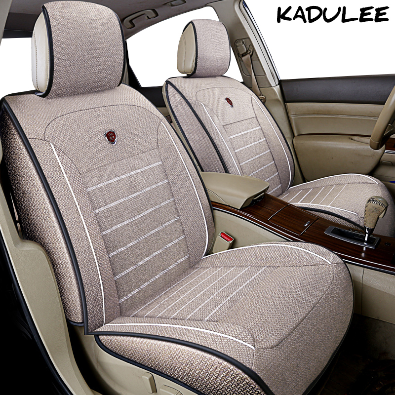 KADULEE flax car seat cover set For honda fit civic 2018 accord 2003-2007 jaguar xf jac s2 Auto accessories car-styling kadulee ice silk car seat covers for honda city opel astra k lancia ypsilon honda accord 2003 2007 for land rover car styling