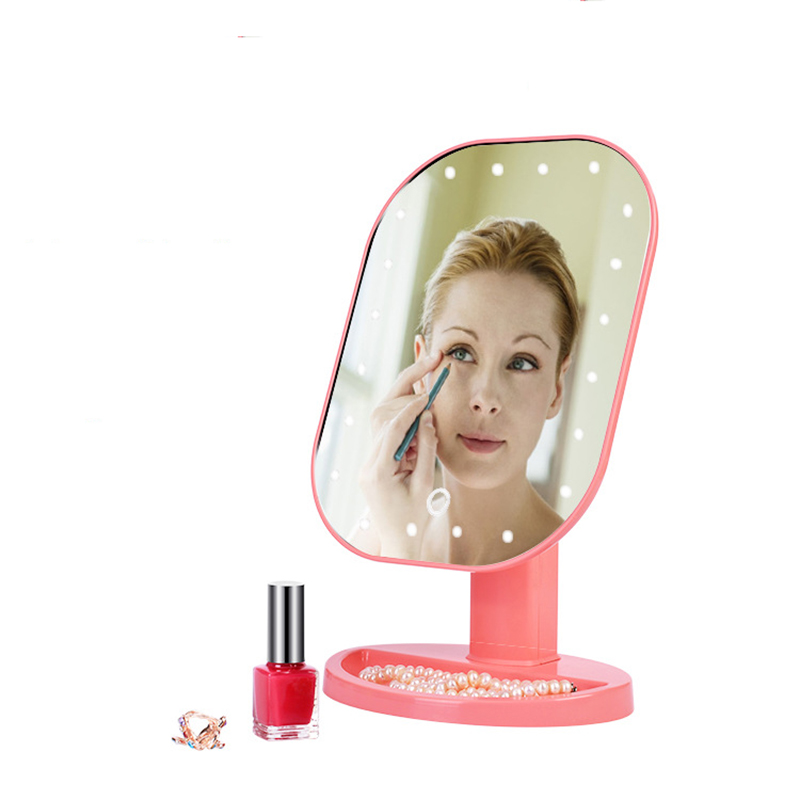 CN RUBR New Professional LED Light Touch Screen Mirror for Women Beauty Cosmetic Square Vanity Mirror