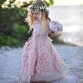 2016 Primeira Comunhão Vestido Daminha casamento Vestidos De Sexy Uma Linha Até O Chão Laço Cor de Rosa Da Menina de Flor Vestidos Para Casamentos