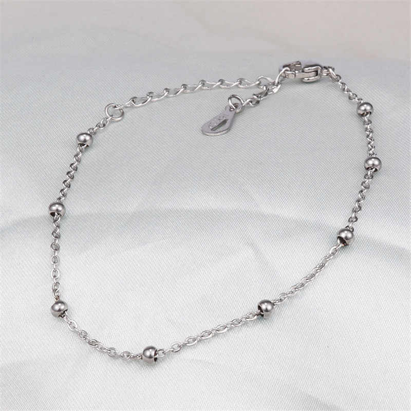 Fashion Stainless Steel Jewelry Silver Gold Rose Gold Color Link Chains Beaded Bracelet For Woman Man No Fade Wristband Gifts