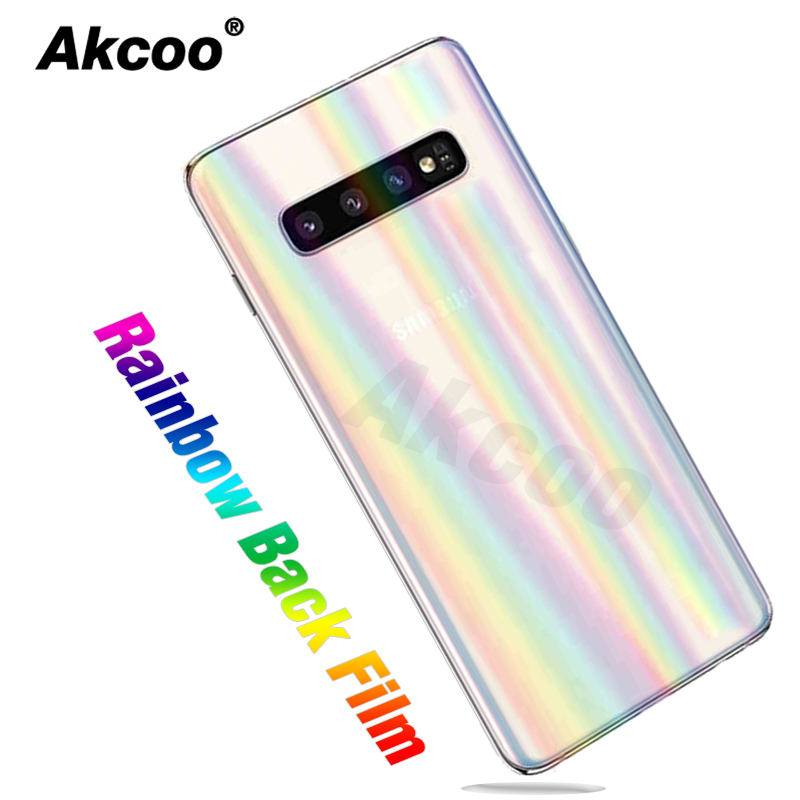 Akcoo Anti Explosion Rainbow Back Film For Samsung S10 Plus Ultra Thin Protector For S7 8 9 Note 8 9 10 Plus Back Protector Film