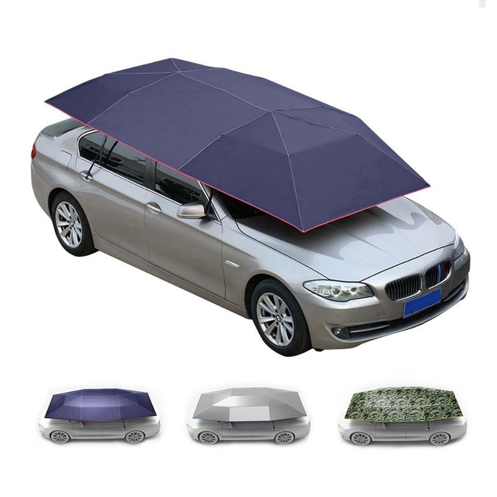 Portable toit parapluie pour voitures parasol isolation couverture semi-automatique Anti-vol Portable 400x210 cm
