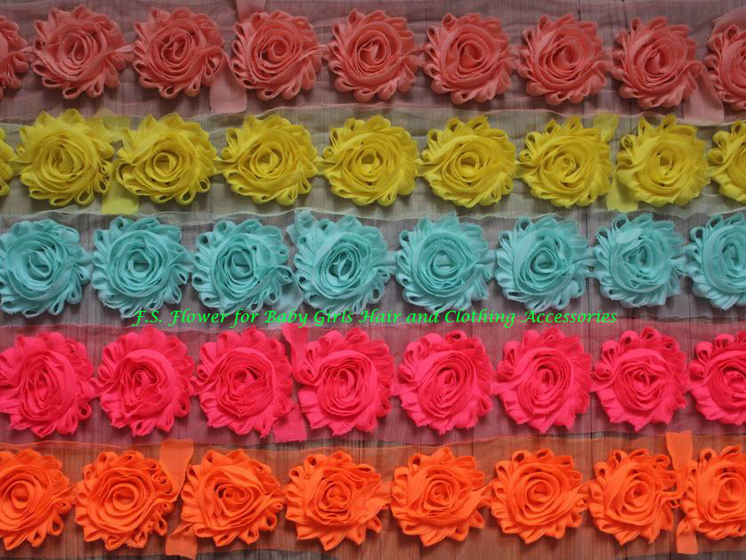 Free DHL 97y 2 5 Frayed Chiffon Flower for Girls Hair Accessories Craft Supplies Fabric Flower