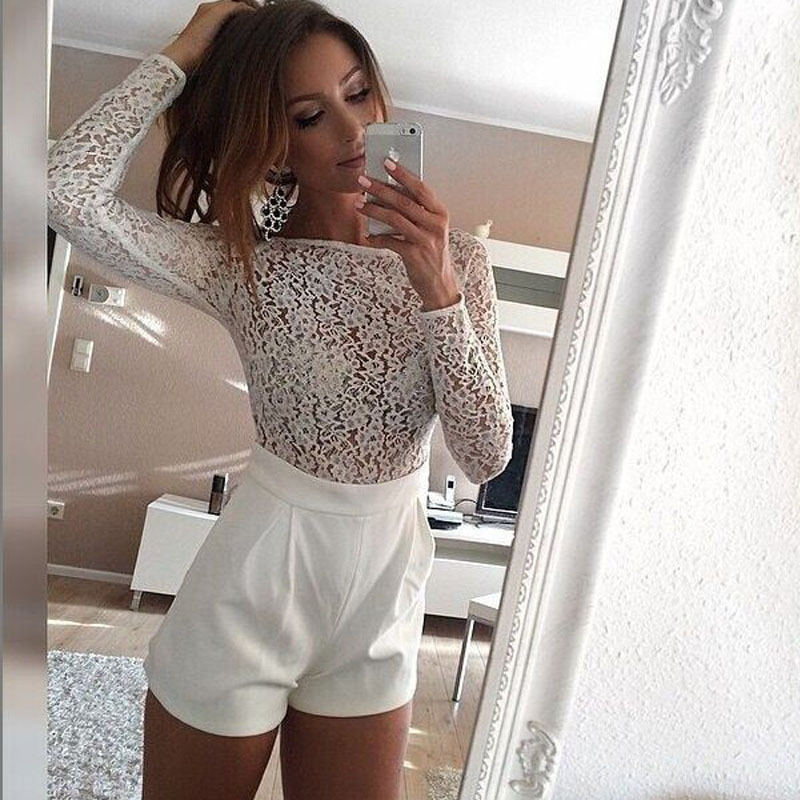 Women Rompers Summer Long Sleeve White Lace Jumpsuits Short Rompers