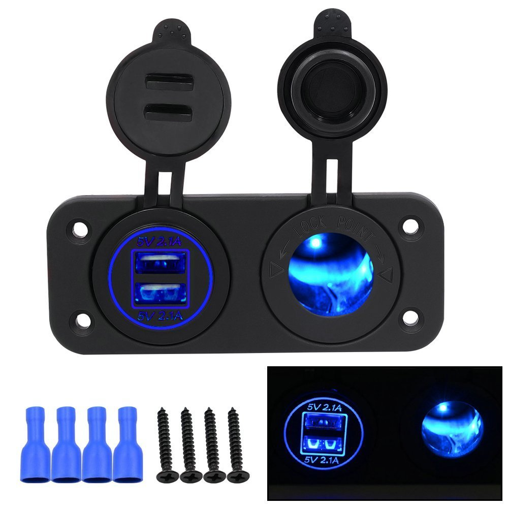 DIY Car 4.2A Dual USB Charger Power Outlet with Led Light and Cigarette Lighter Socket for Car Motor Homes Yacht Boat Etc (Blue)