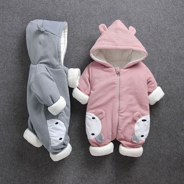 a9ee5d00b9e59 baby body suits romper bear bunny fleece cotton infant winter Newborn boy  girl toddler warm thicken knitted jump suit 3 6 9 12m