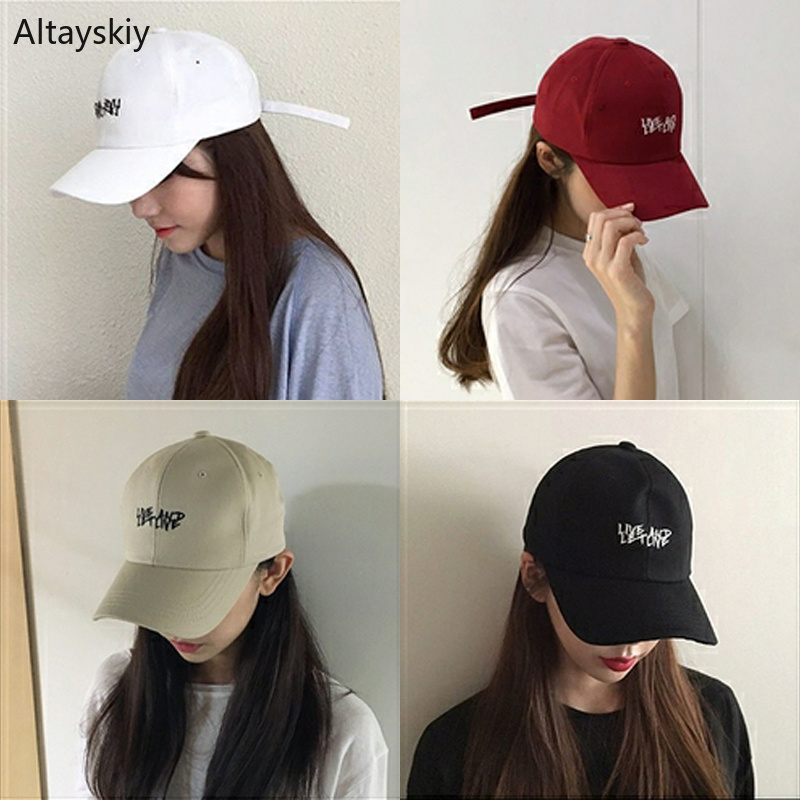 Baseball Caps Women Sun Shade Letter Printed Solid Simple Womens Cap Chic Trendy All-match Korean Style Adjustable Leisure Daily