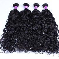 4 Связки волна воды бразильского Виргинские волос 100% Пряди человеческих волос для наращивания натуральный Цвет человека Инструменты для за