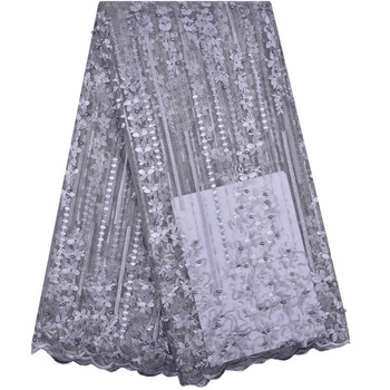 Grey Color French Tulle Net Lace With Rhinestones For Lady Party Sewing Dress Material High Quality French Tulle Net Laces 1245B