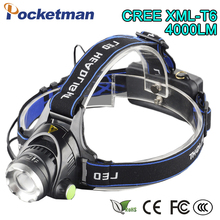 Waterproof LED Headlight CREE T6 Headlamp 4000 with 18650 Battery  Chargers Head Lamp LED Flashlights Head Torch Camping Fishing