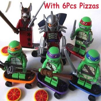 Wholesale 60pcsset Turtles Leonardo Raphael Michelangelo Donatello Model Building Blocks Figure Bricks Kids Toys For Children ninja turtles lepin