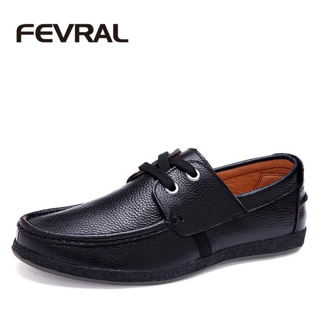 Fevral Brand Best Quality Genuine Leather Men Casual Shoes Soft Moccasins Comfortable Office Working Dress