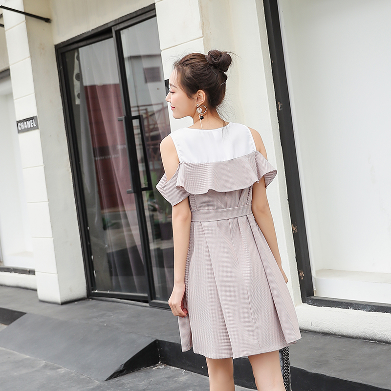 Stylish Ruffle Strapless Ties Waist Maternity Dress 2018 Summer Korean Fashion Clothes for Pregnant Women Pregnancy Wear 5