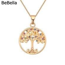BeBella позолоченное ожерелье с круглой подвеской в виде дерева Чешские кристаллы Модные женские ювелирные изделия для женщин и девушек подарок на день рождения