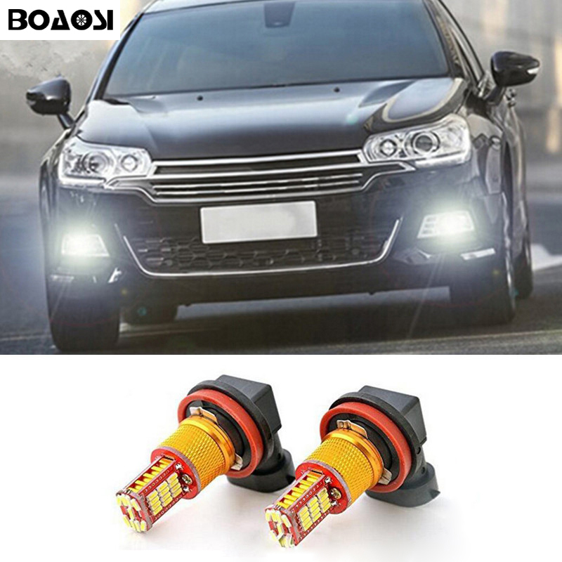 BOAOSI 2x H11 H8 LED canbus Bulbs Reflector Mirror Design For Fog Lights For citroen c2 c4 c4l c5 triumph Car Styling boaosi 1x 9006 hb4 car canbus bulbs reflector mirror design fog lights no error for vw golf 6 mk6 scirocco t5 transporter