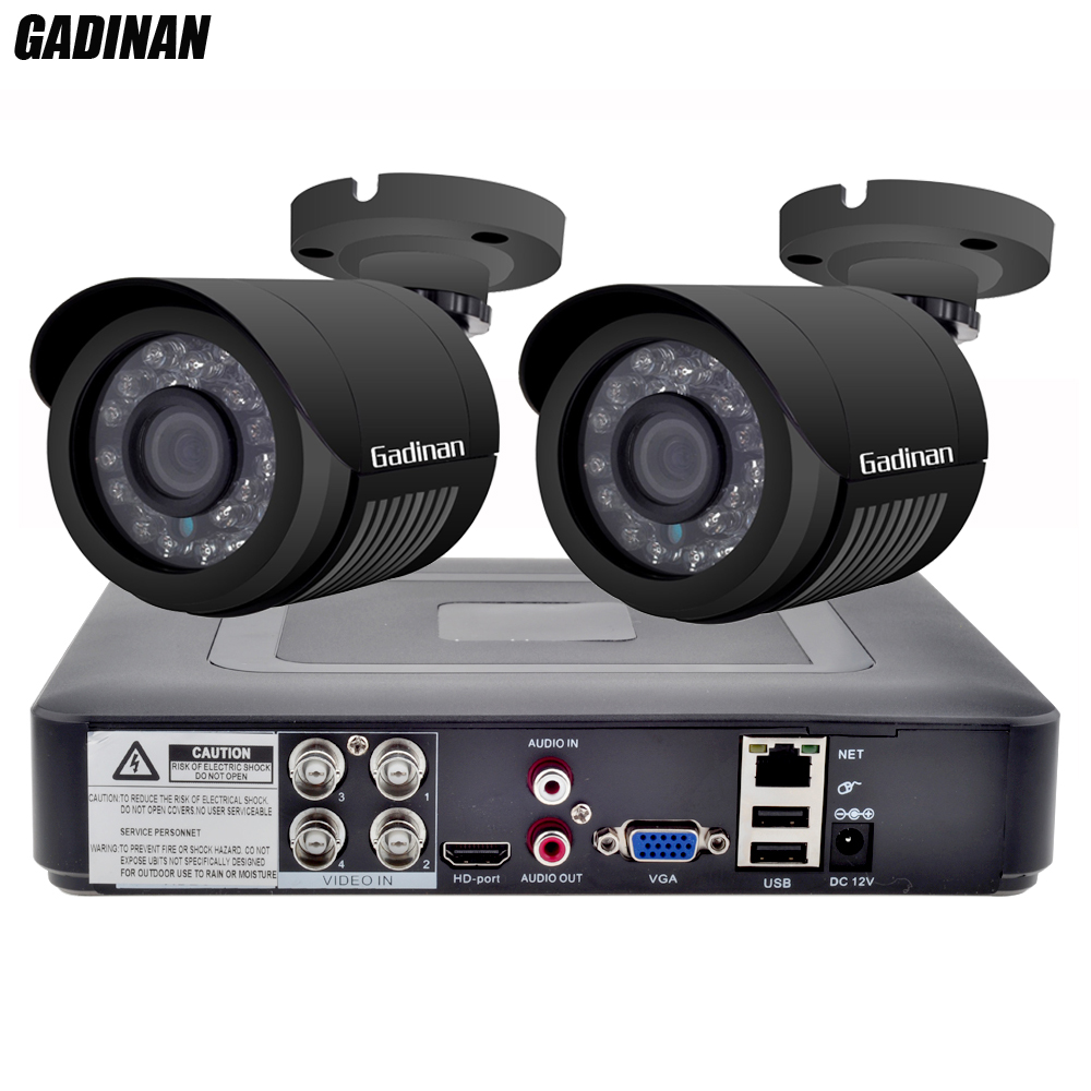 GADINAN 4CH AHD DVR Security CCTV System with 2PCS 2MP 1080P Optional CCTV Camera Waterproof Camera