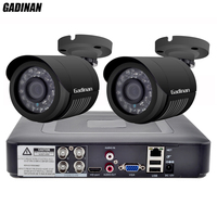 GADINAN 4CH AHD DVR Security CCTV System with 2PCS 2MP 1080P Optional CCTV Camera Waterproof Camera Video Surveillance Kit