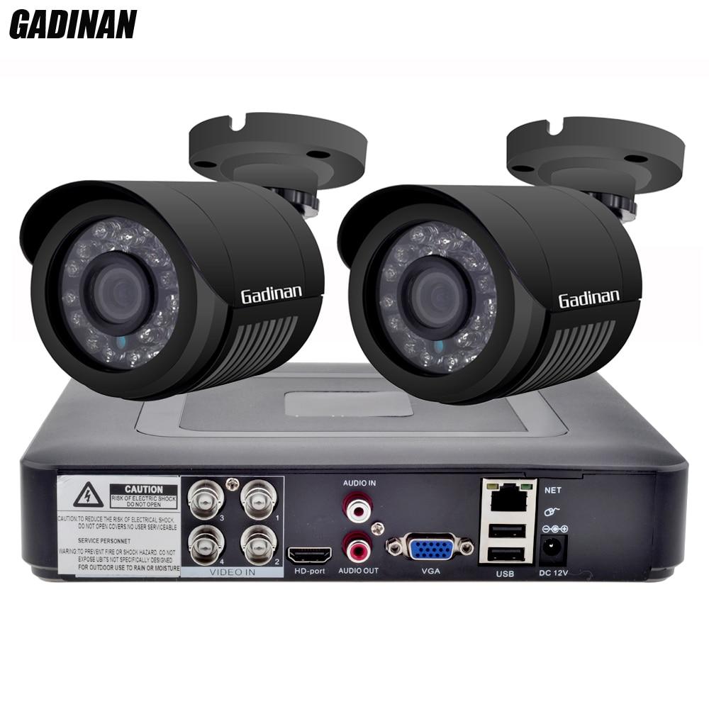 GADINAN 4CH AHD DVR Security CCTV System with 2PCS 2MP 1080P Optional CCTV Camera Waterproof Camera Video Surveillance Kit